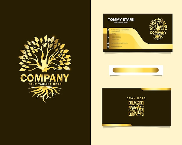 Logotipo de lujo de raíz y árbol con plantilla de tarjeta de visita de papelería