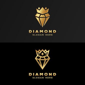 Logotipo de lujo royal diamond gold premium