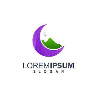 Logotipo de la luna y el monte