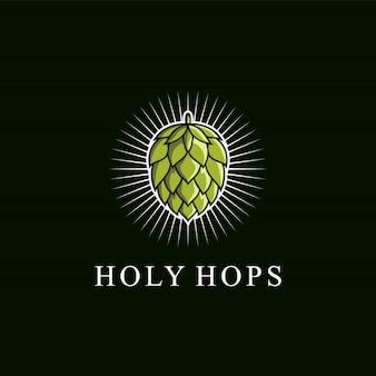 Logotipo de lúpulo verde impresionante