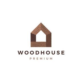Logotipo de madera de la casa de madera