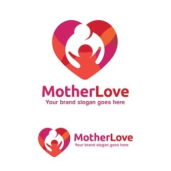 Logotipo, madre y niño del amor de la familia con el símbolo del corazón, identidad de la marca del niño
