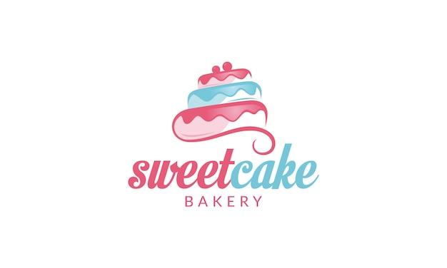 Logotipo de la magdalena logotipo de sweet cake logotipo de la tienda de pasteles logotipo de cake bakery logotipo de vector plantilla