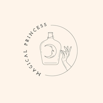 Logotipo mágico de botella, luna y mano.