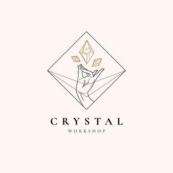 Logotipo mágico de cristal y mano