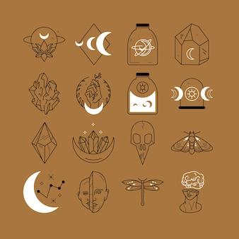 Logotipo mágico de luna y mano