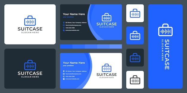 Logotipo de maleta y logotipo de ecualizador. diseño de tarjetas de visita