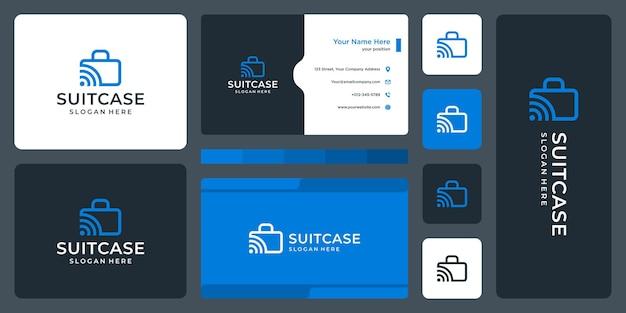 Logotipo de maleta y logotipo de señal. diseño de tarjetas de visita