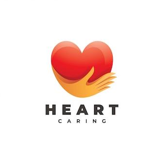Logotipo de la mano de amor y cuidado del corazón