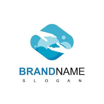 Logotipo de la mano para la comunidad de ayuda y esperanza