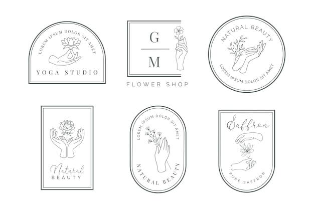 Logotipo de la mano femenina con oliva, loto, rosa, rosa silvestre, flor de azafrán