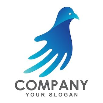 Logotipo de mano y pájaro