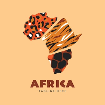 Logotipo del mapa de áfrica con estampado animal