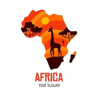Logotipo de mapa de áfrica con jirafa