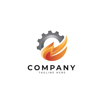 Logotipo de la máquina de energía, icono de trueno y equipo.