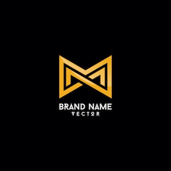 Logotipo de la marca design gold monogram m letter