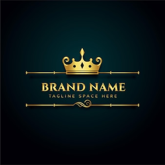 Logotipo de marca de lujo con diseño de corona dorada.