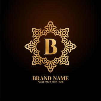 Logotipo de la marca de lujo letra b elegante