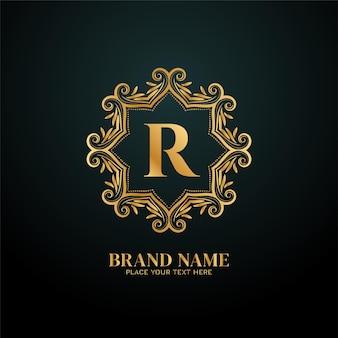 Logotipo de la marca de lujo letra r diseño dorado