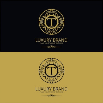 Logotipo de marca de lujo de la letra t