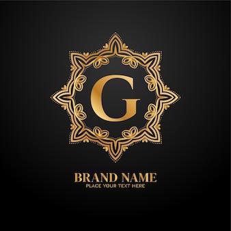 Logotipo de la marca premium de lujo letra g
