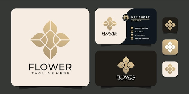 Logotipo de marco de adorno de naturaleza de hoja de flor de belleza de lujo para negocios