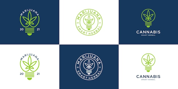 Logotipo de marihuana retro vintage con diseño de bombilla