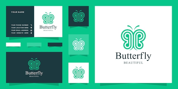 Logotipo de mariposa abstracto con letra bb y diseño de tarjeta de visita
