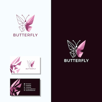 Logotipo de mariposa con diseño de logotipo de tarjeta de visita