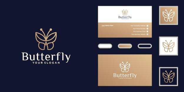 Logotipo de mariposa minimalista e inspiración para tarjetas de presentación