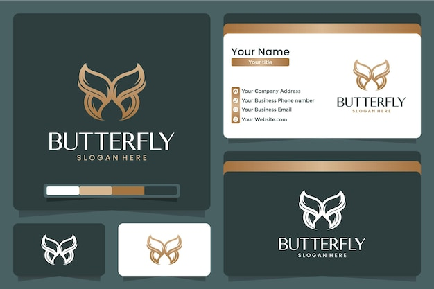 Logotipo de mariposa con versión de arte lineal, color dorado, plantilla de tarjeta de visita