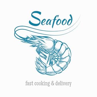 Logotipo de mariscos camarones.
