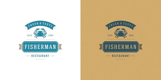 Logotipo de mariscos o letrero mercado de pescado y plantilla de restaurante silueta de cangrejo