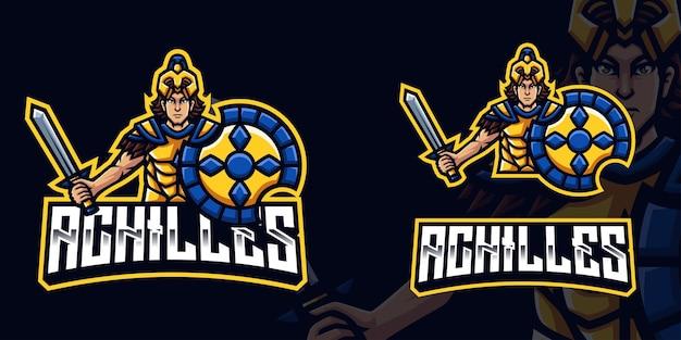 Logotipo de la mascota achilles gaming para esports streamer y community
