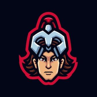 Logotipo de la mascota de achilles head gaming para esports streamer y community