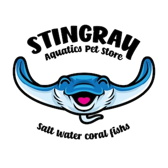 Logotipo de la mascota acuática de stingray