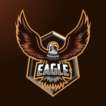 Logotipo de la mascota del águila para deportes y deportes.