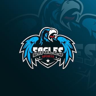 Logotipo de la mascota del águila con un estilo de ilustración moderno para la impresión de insignias, emblemas y camisetas.
