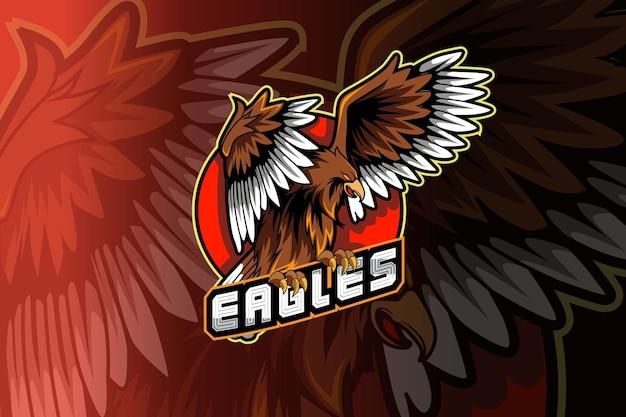 Logotipo de la mascota del águila para juegos deportivos electrónicos