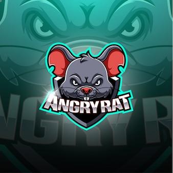 Logotipo de la mascota de angery rat esport