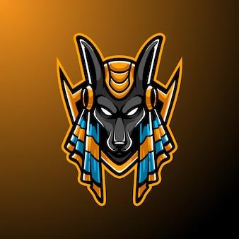 Logotipo de la mascota de anubis e sport