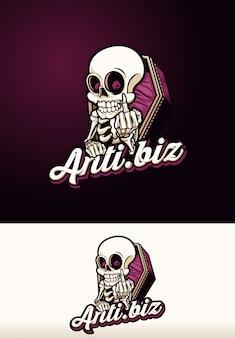 Logotipo de la mascota del ataúd del cráneo