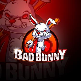Logotipo de la mascota de bad bunny esport