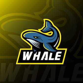 Logotipo de la mascota de la ballena esport ilustración de juegos