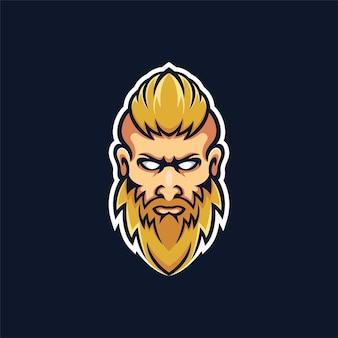 Un logotipo de mascota de barba de hombre