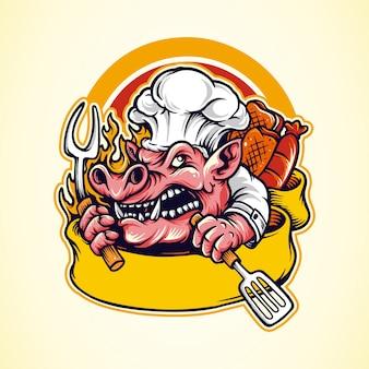 Logotipo de mascota de barbacoa de cerdo con cinta