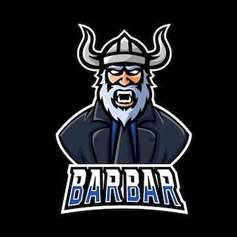 Logotipo de la mascota de barbar sport y esport gaming