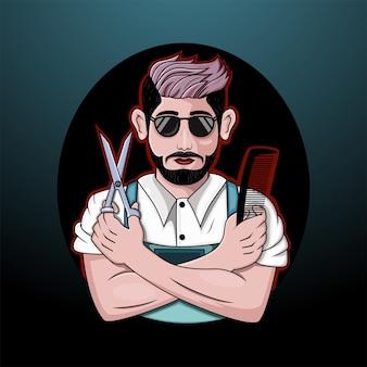 Logotipo de la mascota de barber man esport