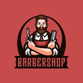 Logotipo de la mascota de la barbería