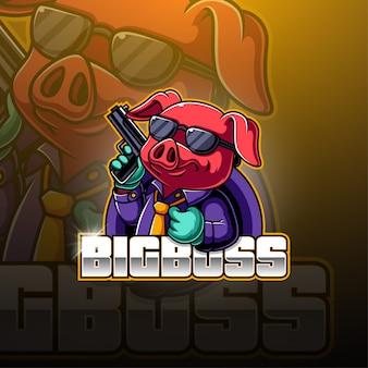 Logotipo de la mascota de bg boss esport